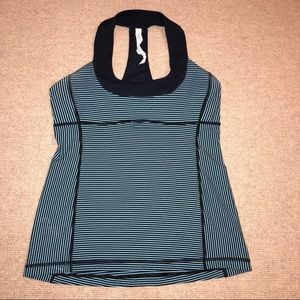 Lululemon Navy and Aqua striped top
